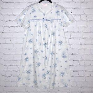Vintage White Nightgown Blue Floral Lace Trim